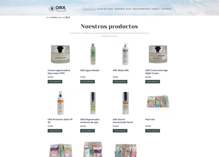 OrxCosméticos página web